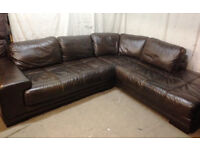 very good condition dark Brown leather corner sofa