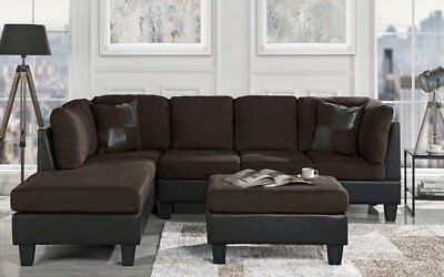 Classic Brown Microfiber/Faux Leather 3-Piece Sectional Sofa Set, Chocolate