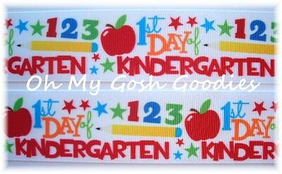 1.5 *FIRST 1st DAY OF KINDERGARTEN * BACK TO SCHOOL GROSGRAIN RIBBON FOR HAIRBOW - Kindergarten Crafts