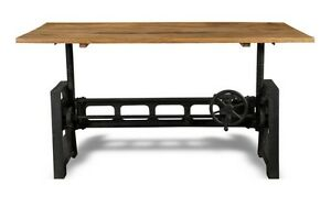 INDUSTRIAL WOODEN TOP CAST IRON ADJUSTABLE TABLE