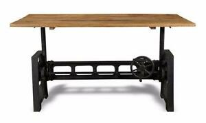 INDUSTRIAL TABLE - WOODEN TOP CAST IRON ADJUSTABLE TABLE