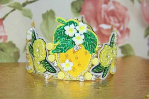zIBELLINI Baroque Lemon Sicilian Fruit Applique Crystal Crown Headband
