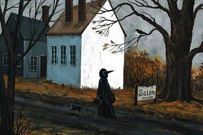 LE 4x6 HALLOWEEN POSTCARD 3/150 RYTA RARE SALEM BLACK CAT WITCH HAUNTED HOUSE - Le Halloween