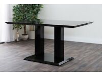 Black high gloss dining table