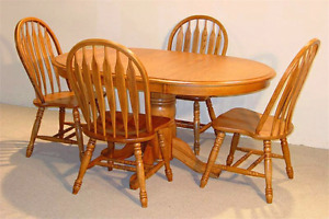 Solid oak dining set 4 chairs