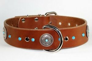 Brown Leather Collar Hand Made W/Turquoise Decoration