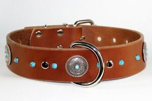 Brown Leather Collar Hand Made W/Turquoise Decoration Yellowknife Northwest Territories image 1