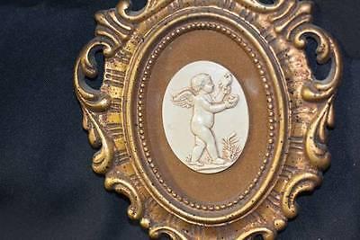 Vtg Regency Cherubim Ornate Plastic Chic Picture Frame Retro Angel Old