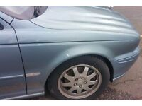Jaguar X Type O/S Wing In Blue Breaking For Parts (2003)