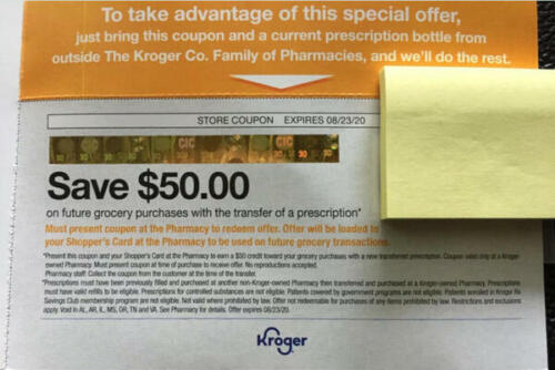 $50 Kroger coupon on a grocery trip with transfer of a prescription exp 8/23/20