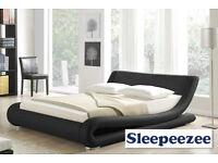 Black European Design Faux Leather Double Bed