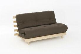 Double 4ft 6'' Premium Luxury Futon Wooden Sofa Bed in chocolate