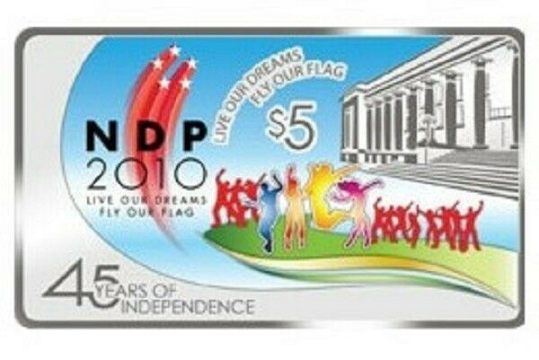 Singapore 2010 NDP $5 Coloured Silver Proof Rectangular Coin-First Rectangular coin issued by e MAS