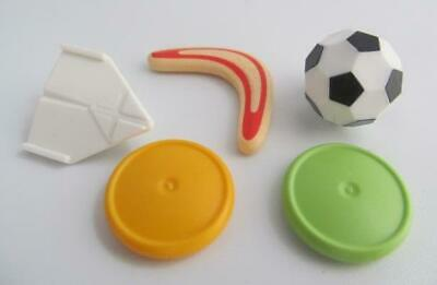 Playmobil Dollshouse/Sport/School: Football, frisbees, boomerang & airplane NEW