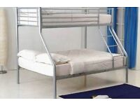 **14-DAY MONEY BACK GUARANTEE!** Triple Metal Bunk Bed and Mattress Trio Sleeper - EXPRESS DELIVERY