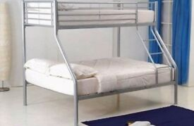 🔥💥CHEAPEST PRICE GUARANTEED🔥💥 Alexa Triple Metal Bunk Bed and Mattress - SAME/NEXT DAY DELIVERY