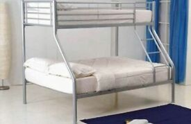 flat packed-Trio Sleeper Metal Bunk Bed Frame in silver Color-Mattress Options
