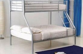 **100% GUARANTEED PRICE!**Triple Metal Bunk Bed With Single And Double Mattress-Same Day Delivery