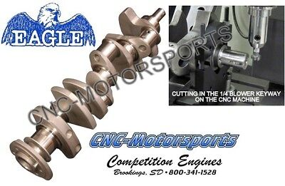 BB Chevy 540 555 Blower Crank, Forged Eagle Crankshaft, 4.250 1/4 Keyway