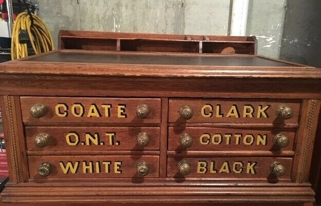 antique thread spool cabinet