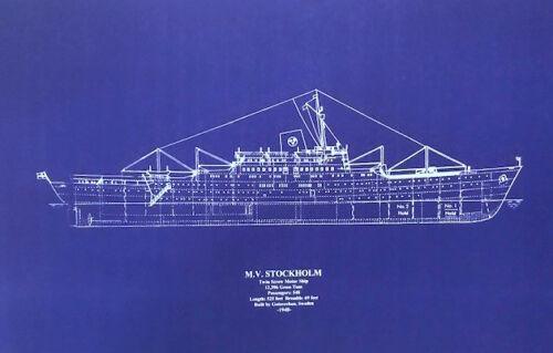 "New York Harbor Ship Wreck MV Stockholm Blueprint Plan Drawing 24"" x 36"" (036)"