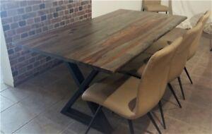 Table de cuisine en bois de rose gris massif live edge 67 x 36