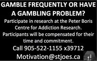 GAMBLERS NEEDED FOR STUDY - Will Compensate
