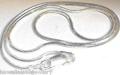1.3MM SOLID 925 STER SILVER ITALIAN 8-SIDED DC OCTAGON SNAKE CHAIN NECKLACE 18
