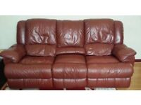 3 seater leather sofa with 2 armchair (RECLINER)