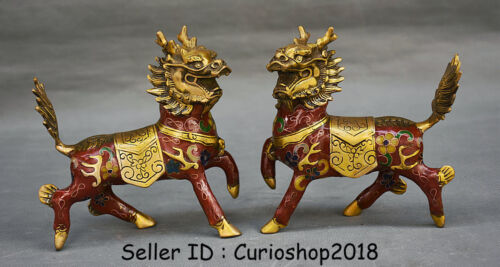 "5.2"" Old Chinese Cloisonne Copper Feng Shui Animal Kylin Qilin Beast Statue Pair"