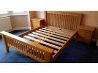 Solid oak beautiful king size bed frame in very good condition, no veneers, heavy