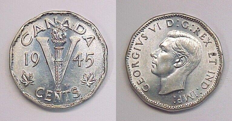 1945 Canadian Nickel Canada Five Cents AU-BU