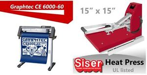 Graphtec 24 Vinyl cutter+15x15 Siser heat press t shirt Transfer