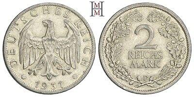 HMM - Weimarer Republik 2 Reichsmark 1931 F Kursmünze J. 320 - 160408007