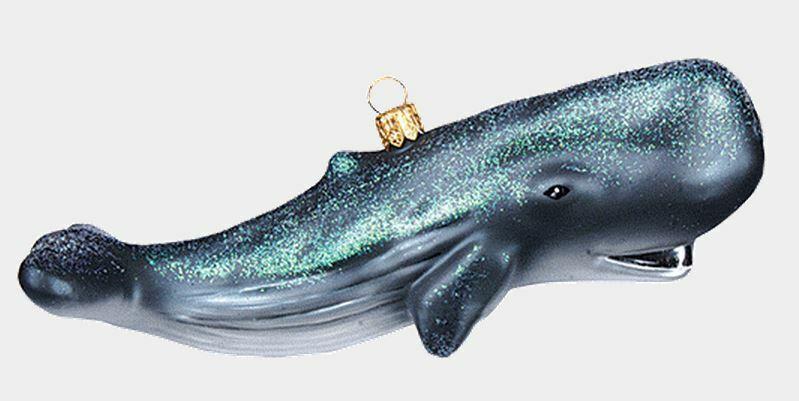 Sperm Whale Cachalot Ocean Life Polish Mouth Blown Glass Christmas Ornament