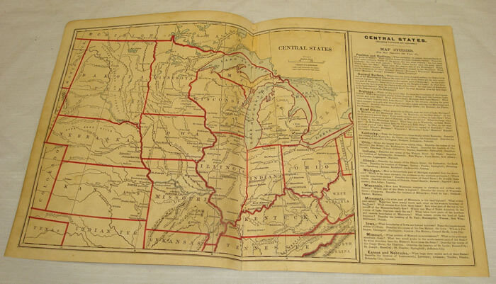 1879 COLOR MAP of CENTRAL STATES///Guyot