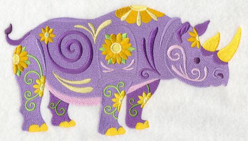 Embroidered Sweatshirt - Flower Power Rhino L5984
