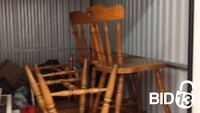 Bid Now-Few wooden chairs, boxes, storage containers  & lot more