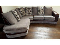 Grey/Brown Corner Sofa. Can deliver