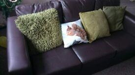 3-Seater Brown Sofa