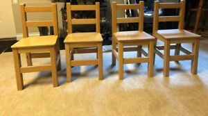 4x Wooden Children Chairs