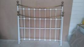 Beautiful white and brass metal king size bed frame