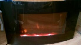 Hyundai bow front black glass electric fire