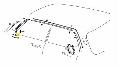 A1156901589 MERCEDES W114 W115 LEFT ORNAMENTAL COVER GENUINE NEW