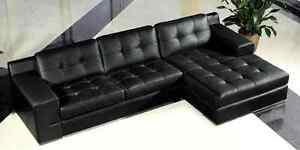 Black Bonded Leather Sectional Sofa London Ontario image 1
