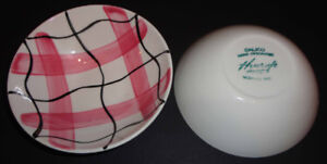 1950s HYCROFT 2 small bowls HAND PAINTED MCM
