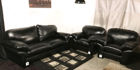 """"""" New/Ex display Dfs Black real leather 3 seater sofa with 2 chairs"""