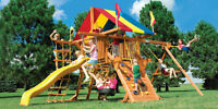 Wooden Swing Set Play Structure Rainbow