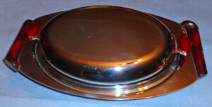 Art Deco GLO HILL Chrome Catalin Serving Container