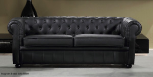 Chesterfield Style Sofa Love Seat And Chair in Leather or Fabric